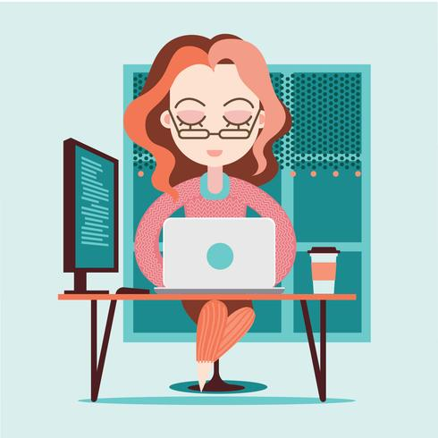 Young Caucasian Woman as Female Developer Profession
