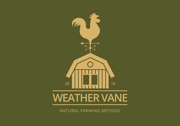 Weather Vane with Rooster. Weathercock. Vector illustration.