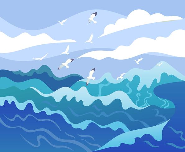 Hög havsillustration