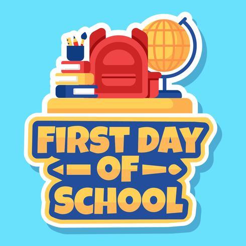 Primeiro dia do vetor de adesivo de escola