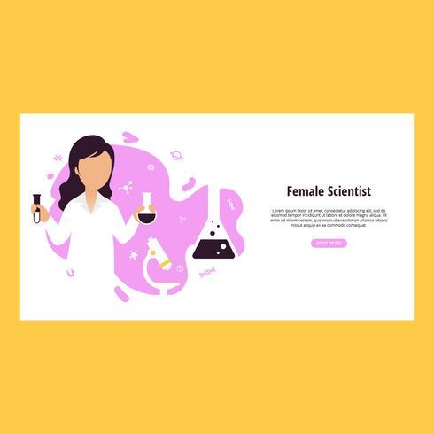 Mujer científico Vector Banner
