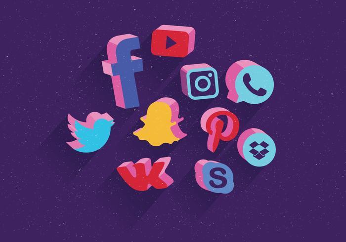 Los iconos de redes sociales establecen Vector 3D