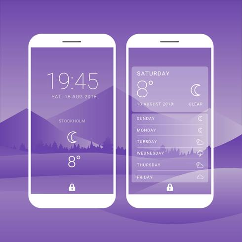 Wetter Bildschirme Schnittstelle Vektor