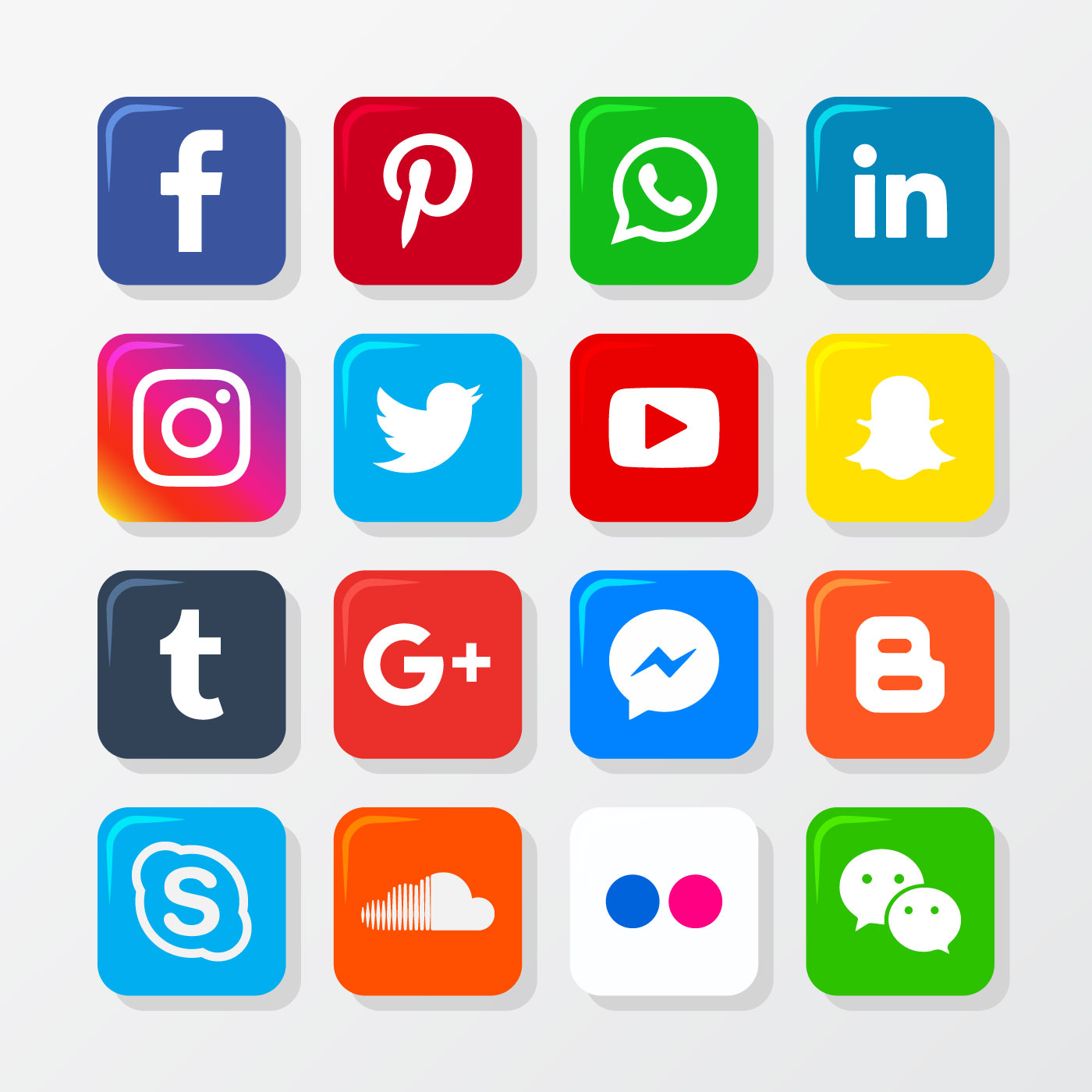 Social Media Icon Set - Download Free Vectors, Clipart ...