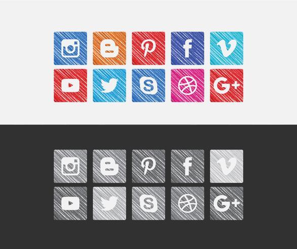 Vector ícones coloridos de mídia social