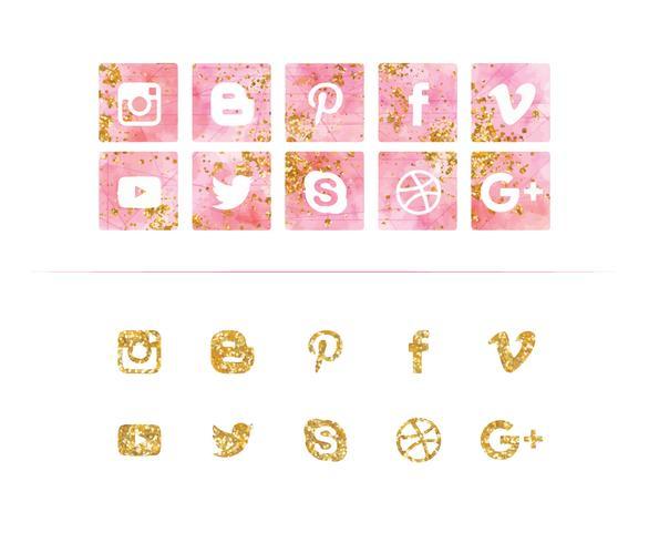Vector conjunto de iconos de redes sociales de acuarela y brillo