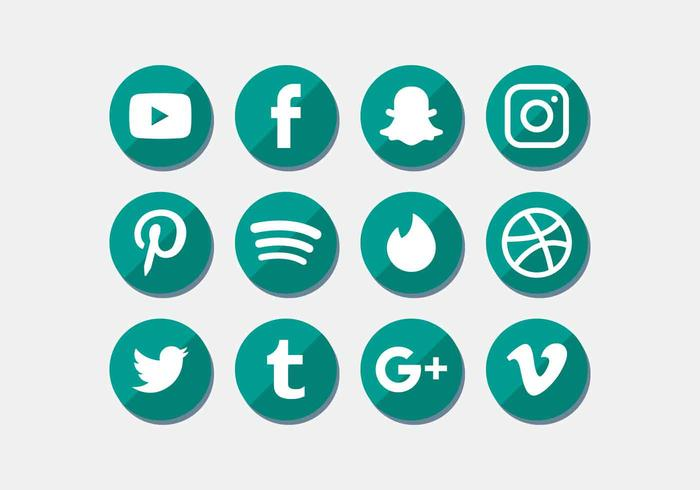 Social Media Icons Set Vektor
