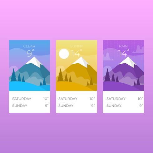 Platta väderappskärmar Med Gradient Bakgrund Vektorillustration