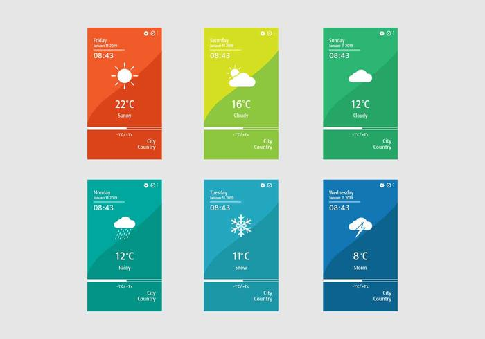 Weather App Screens Vector Template