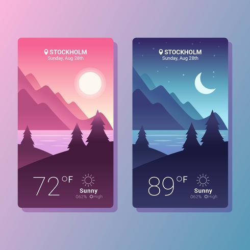 Weather App Screens Vector