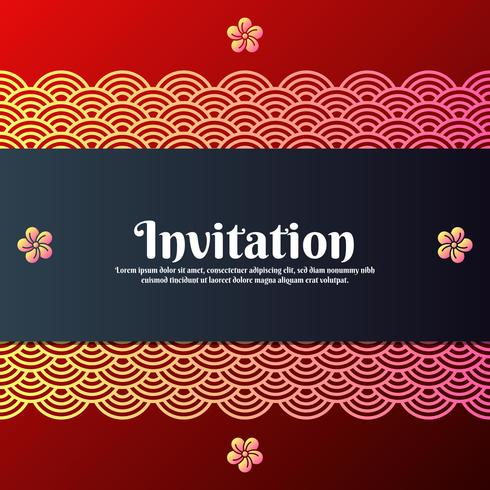 Greeting Invitation Card With Traditional Oriental And Magnolia Blossom Symbols