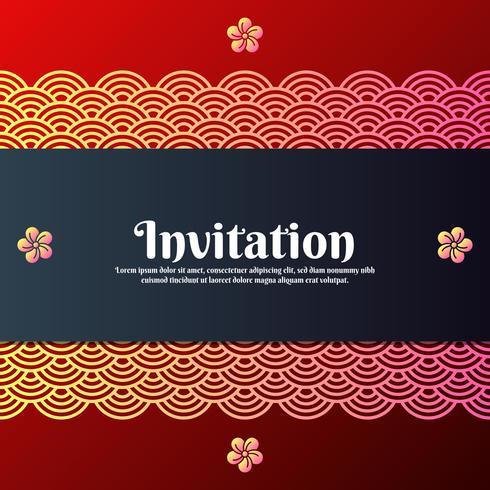Tarjeta de invitación de felicitación con símbolos tradicionales orientales y flor de Magnolia