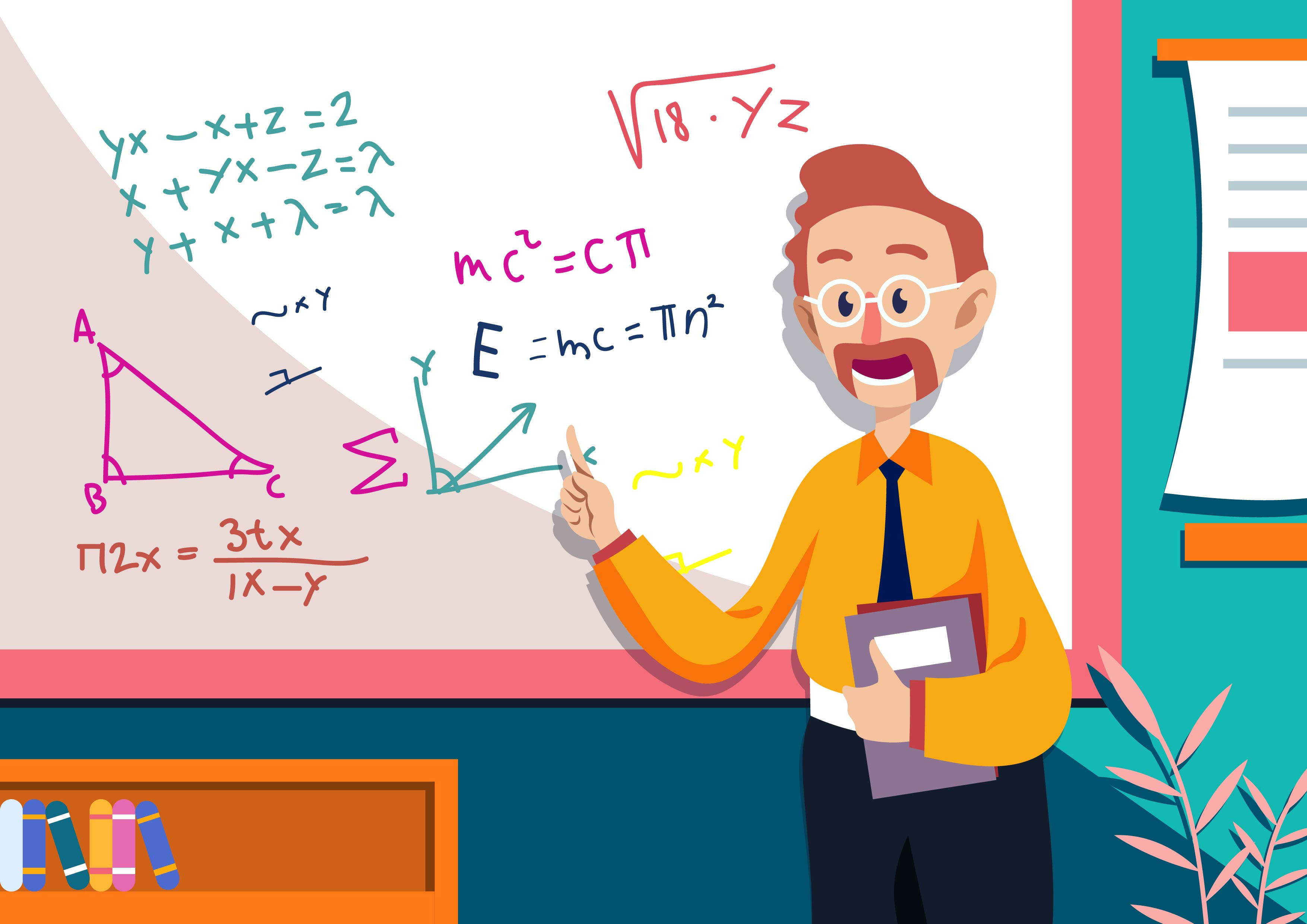 math teacher illustration download free vector art