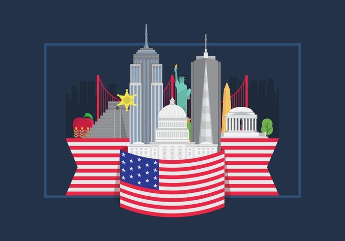 Berömda United States Landmark Advertising Graphic med amerikanska flaggan
