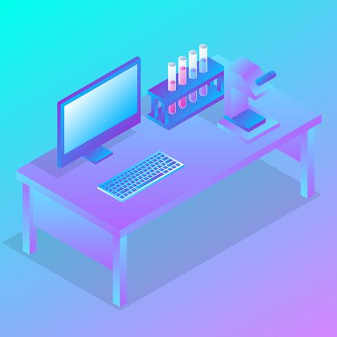 Isometric Science Lab Experiment Vector Illustration