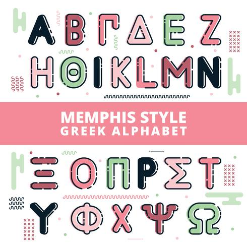 Memphis Style Greek Alphabet - Download Free Vector Art, Stock