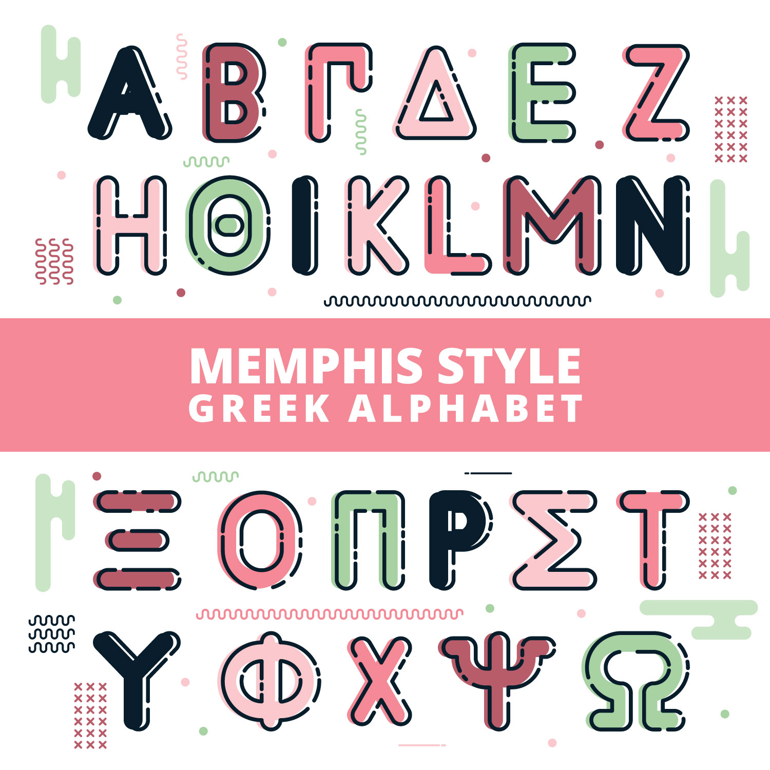 Memphis Style Greek Alphabet - Download Free Vector Art, Stock ...