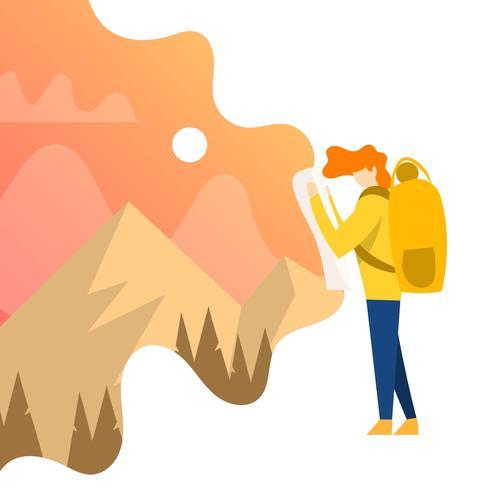 Esploratore piano della natura con l'illustrazione di vettore del fondo di pendenza