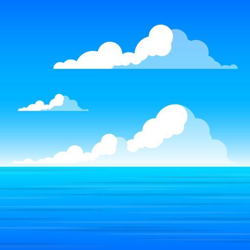 Las nubes y el mar Paisaje Ilustración gráfica Vector de fondo