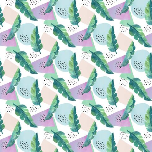 Tropical Pattern With  Leaves And Colorful Shapes  vector