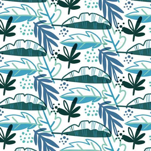 Blå tropiskt mönster med löv