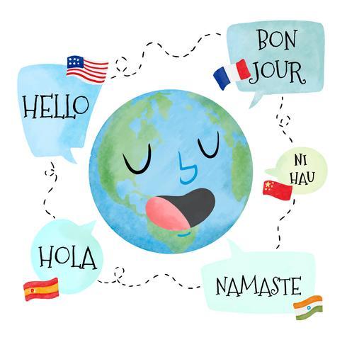 Aquarel planeet karakter met tekstballon met verschillende talen