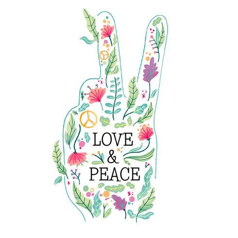 Watercolor Peace Shape Hand Full of Flowers