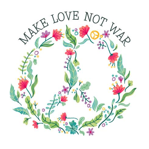 Signo de la paz acuarela llena de flores