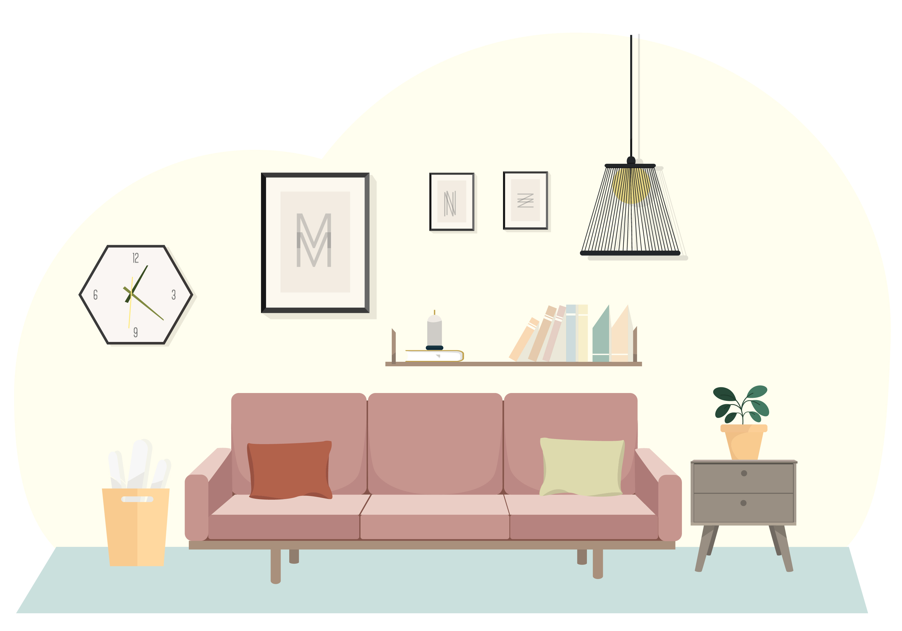 Vector Living Room Illustration Download Free Vector Art