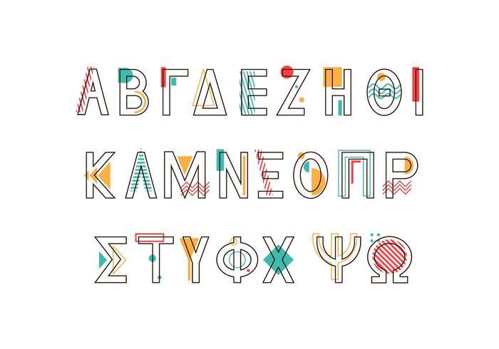 Vettore di alfabeto greco di stile di Memphis