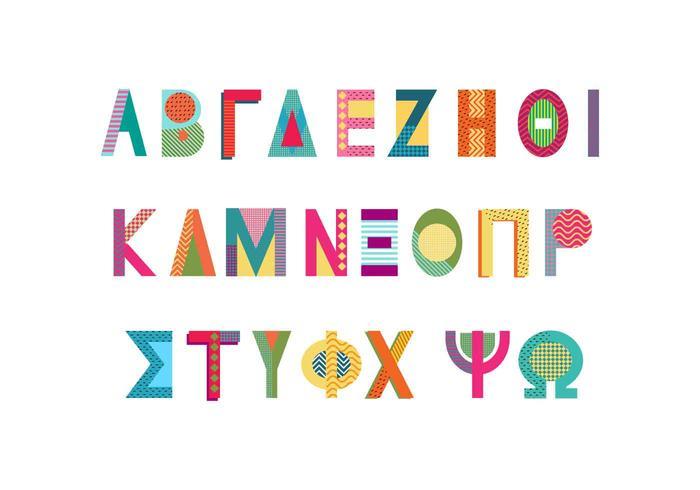 vector alfabeto griego estilo memphis