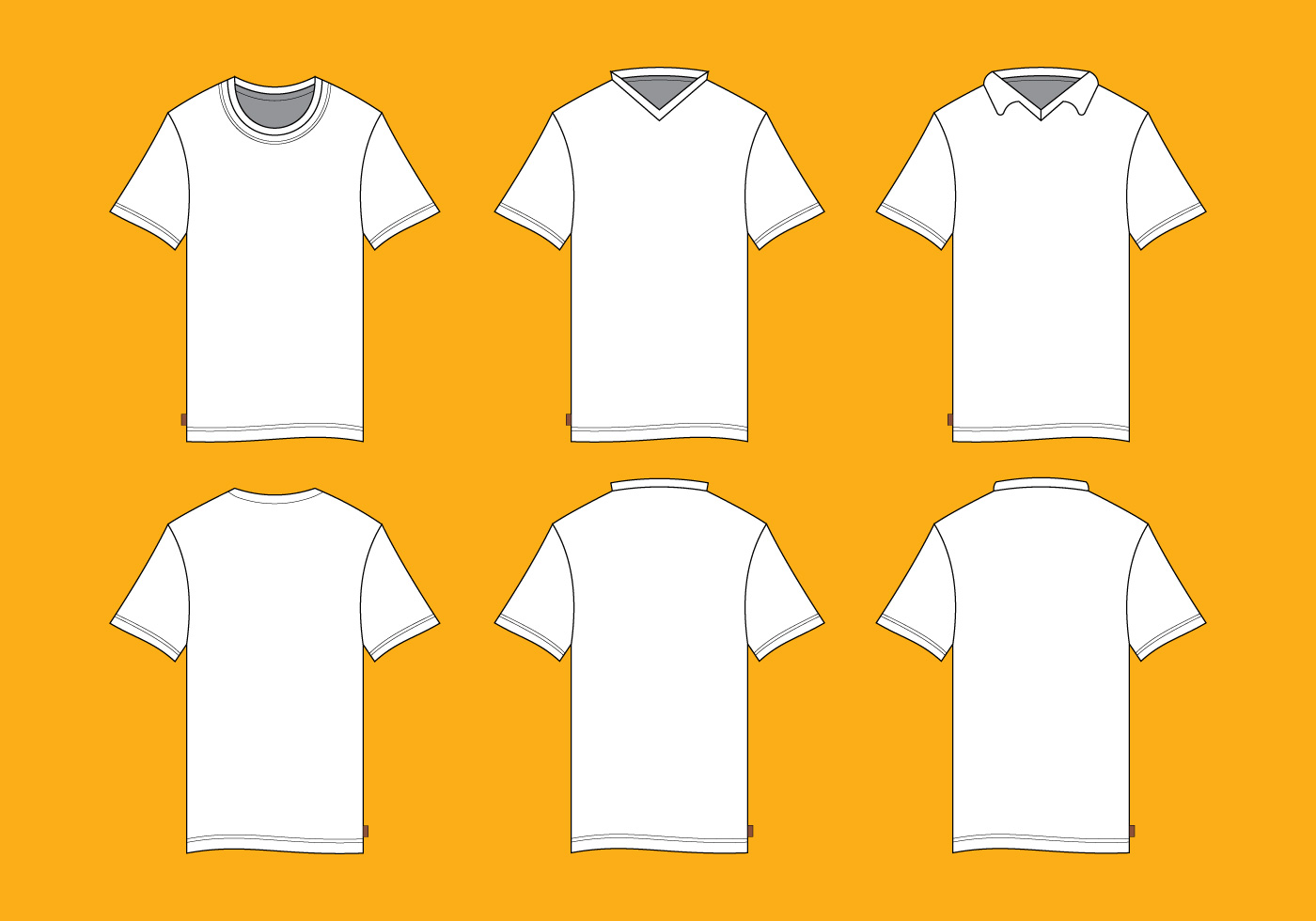 T Shirt Vector Front Side And Back Side Mock Up Template Download
