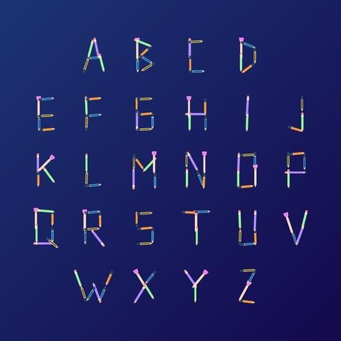 Arrangement de vecteur d'alphabet sur le thème de l'école de crayons