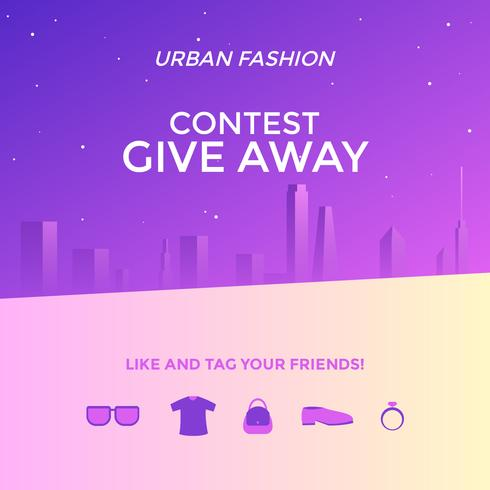 Urban Fashion Instagram Give Away Contest Template Vector