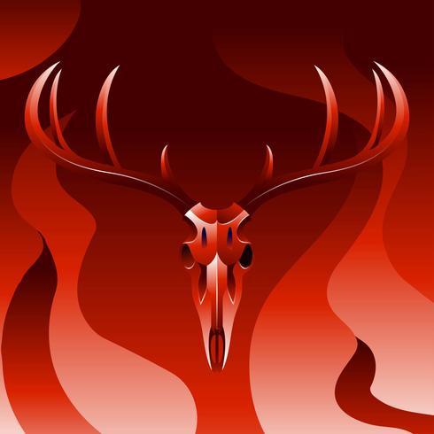 Cráneo de ciervo Vector rojo