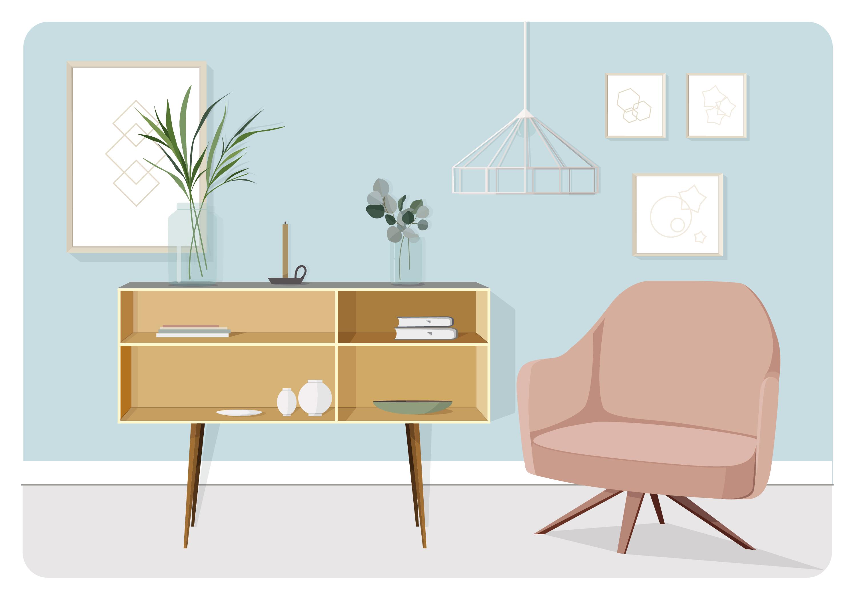 Vector Living Room Illustration - Download Free Vectors ...
