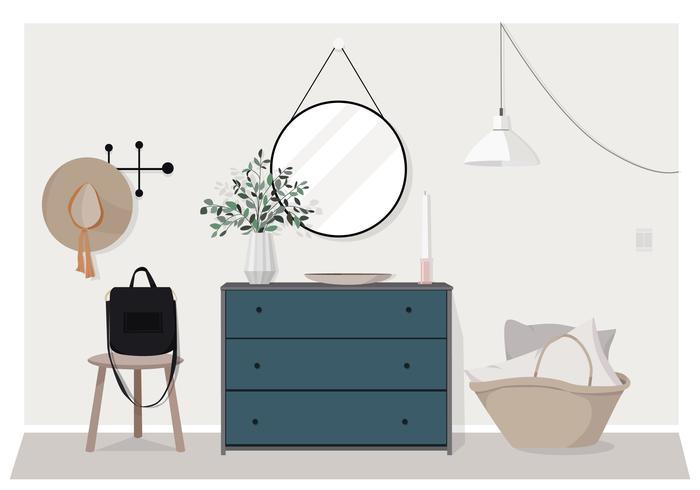 Ilustración de diseño de muebles de interior de vector