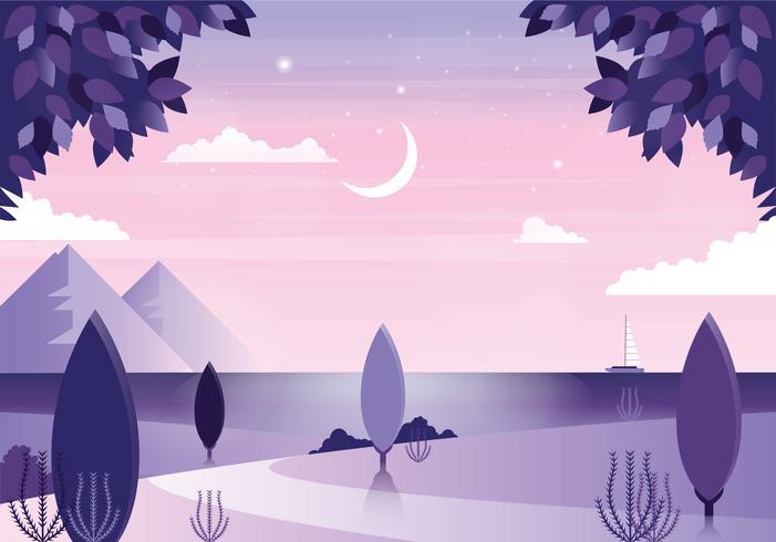 Vektor vacker lila landskaps illustration