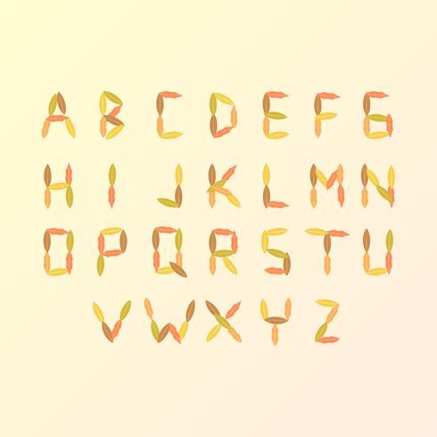 Torkade blad Höst Alfabet Vector