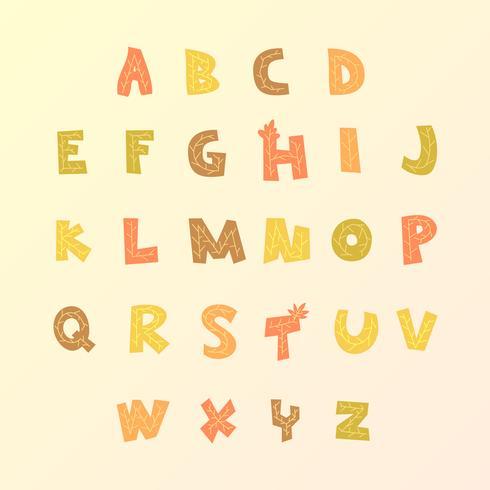 Vena de la hoja, otoño, alfabeto, vector