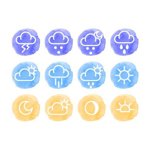 Icônes météo Vector aquarelle
