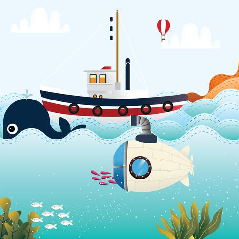 Conception de vecteur de panorama en haute mer