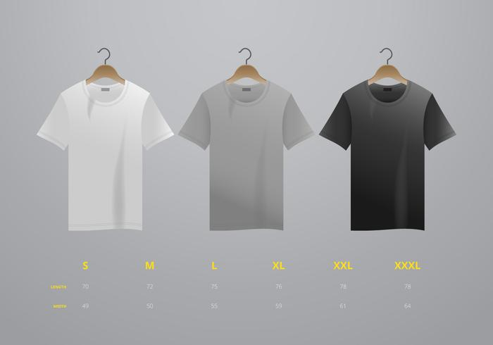 Realistisk vektor t-shirt med storlek mock up illustration