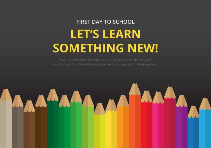 Primer día de regreso a la ilustración escolar para niños o estudiantes.