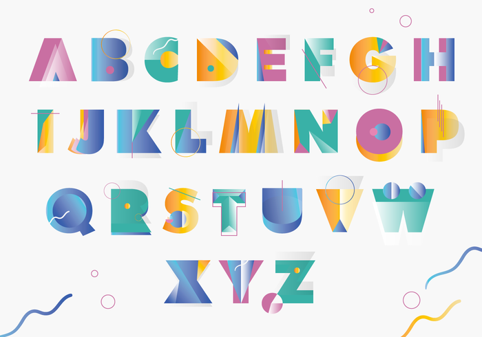 Colorfull Memphis Style Greek Alphabet Vector