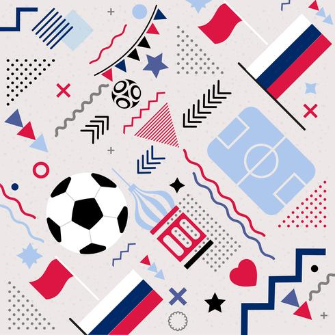 Coupe du monde de football vecteur Memphis Pattern Background