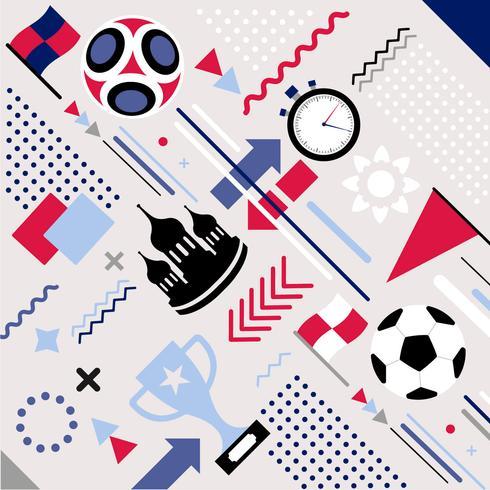 Vector futebol Copa do mundo Memphis Pattern Background