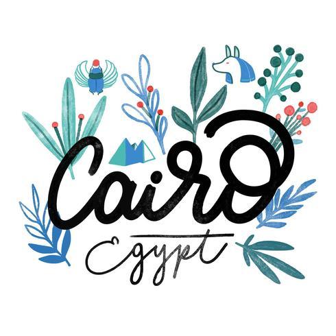 Lettrage aquarelle Le Caire Egypte avec des feuilles vecteur