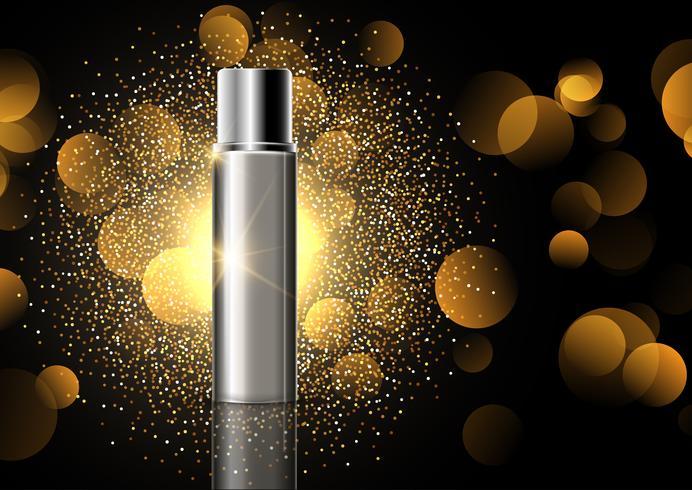 Frasco cosmético em branco sobre fundo de exibição de glitter dourados