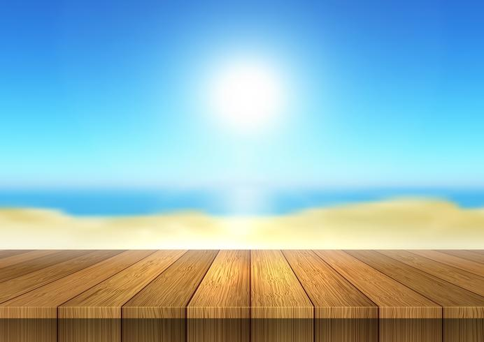 Wooden table looking out to defocussed beach landscape - Download Free Vector Art, Stock Graphics & Images